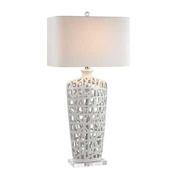 Ceramic Table Lamp in Gloss White And Crystal Gloss White,Crystal