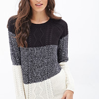 FOREVER 21 Colorblocked Cable Knit Sweater