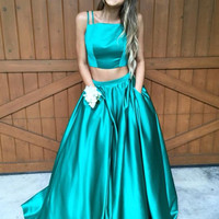 Two Pieces Green Simple Prom Dress Evening Dresses