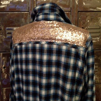 Sequin Flannel Shirt  Plaid meets Glam- Boho Hipster Sparkle Shirt- altered sequin Yoke - reconstructed upcycled