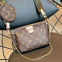 LV Louis Vuitton Newest Popular Women Metal Chain Leather Shoulder Bag Handbag Crossbody Satchel Green