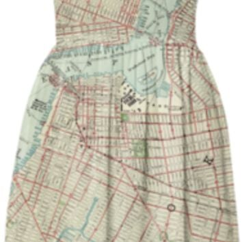 Brooklyn map antique 1897 vintage street map print summer sun dress created by iGalaxy   Print All Over Me
