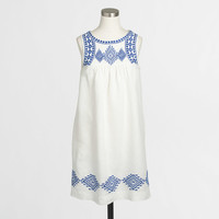 Factory linen-cotton embroidered dress