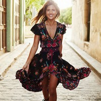 Vintage Flower Print Tassel Drawcord Dip Hem Dress