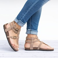Gladiator Footbed Taupe Sandals