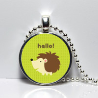Hello Woodland Creature Hedgehog with green background Round Tile Pendant Necklace SALE