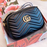 GUCCI hot casual ladies solid color double G button oblique cross small bag Higher quality