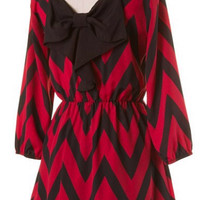 Game Day Bow Back Tunic Dress - Red and Black