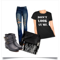 Black T-Shirt Ripped Jeans