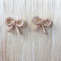 Audrey Pearls N Bow Stud Earrings