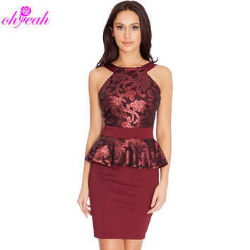 R80191 new arrival women sexy dress with sequined elegant ladies' mini peplum dress three colors available women fashion dress