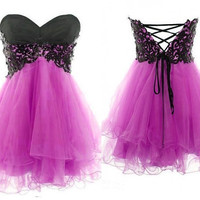 Cute Lace Ball Gown Sweetheart Mini Prom by FashionProm on Etsy