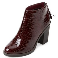 Dark Red Patent Croc Textured Block Heel Ankle Boots