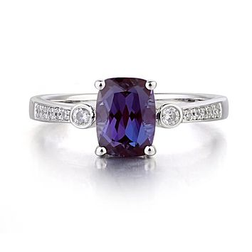 A 1.7CT Cushion Cut Lab Alexandrite Engagement Ring