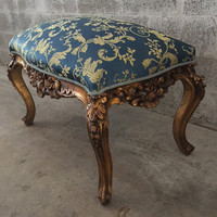 Antique French Louis XVI Bench Small Chair Gold Leaf Original Gild Royal Blue Damask Fabric Solid Wood Handmade Rococo Baroque