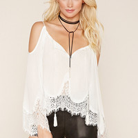Eyelash Lace Open-Shoulder Top