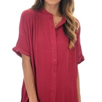 Maroon Muse Button Down