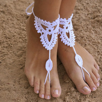 Nude shoes, Foot jewelry, Wedding, Victorian Lace, Sexy, Yoga, Anklet , Bellydance, Gift,Steampunk, Beach Pool,Crochet Ivory Barefoot Sandals +Gift Box