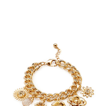 FOREVER 21 Floral Charm Bracelet Gold/Clear One