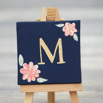 """Mini Canvas and Easel, Navy with Gold Letter / Personalized Wedding Favors / 3"""" x 3"""" Canvas"""