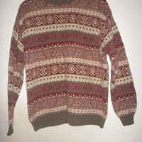 SISLEY Fair Isle Fall Colors Boho Hippie grunge pullover slouchy sweater Virgin wool Jumper Made In Italy