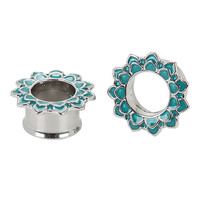 Steel Teal Lotus Filigree Plug 2 Pack