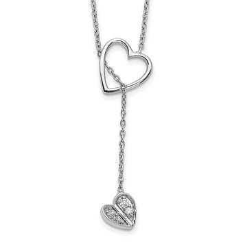 14k White Gold Real Diamond Heart w/dangle 18 inch Necklace