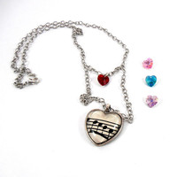 Swarovski  Heart  Glass Pendant , Music Necklace, Sheet Music Recycled Paper Jewelry