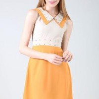 Vintage Rock Double Collar Studded Sleeveless Twofer Dress in Yellow Pumpkin  | Sincerely Sweet Boutique