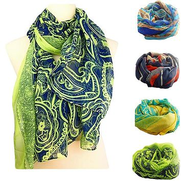 Long Voile Stole Womens Scarf or Wrap