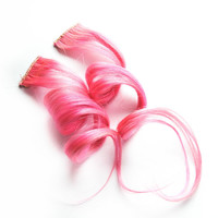Human Hair Extension, Spring extension hair, hair extension, pastel pink clip in hair, Tie Dye Colored Hair -Rosette