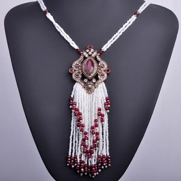 Turkish Royal White Beads Tassel Boho Necklace
