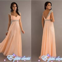 Long beaded Evening Dress / party dress / Homecoming dress / prom dress / evening dress / bridesmaid dress / cocktail party dress