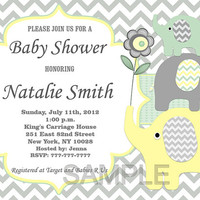 Baby Shower Invitation Elephant Baby Shower Invitation Neutral Baby Shower Invitation Invites (88) - Free Thank You Card - Instant Download