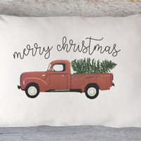 Christmas Truck Pillow Cover - Christmas Tree Pillow, Merry Christmas, Vintage Red Truck Pillow, Farmhouse Pillow, 12 x 16, 12 x 18, 12 x 20