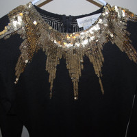 80's Gold Sequined Black Sweater Blouse w/ Shoulder Pads By Outlander - S