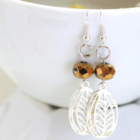 Silver Charm Earrings with Metallic Gold Crystal Bead - perfect fashion jewelry to glitz or glamour up any evening or day - Sale
