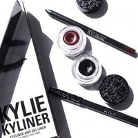 Kylie Kyliner Suit Eyeliner Pen, black and brown Eyeshadow brush Three Piece (Bronze birthday Edition) [8746096588]