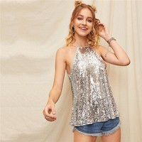 Sexy Silver Keyhole Buttoned Cut out Back Sequin Halter Tank Top Women Solid Highstreet Casual Glamorous Vests