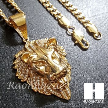 316L Stainless steel Gold Bling King Lion w/ 5mm Cuban Chain SG7