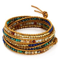 Chan LuuAqua Terra Mix Beaded Wrap Bracelet