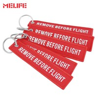 MELIFE Remove Before Flight Outdoor Climbing accessories Embroidery Keychain Aviation OEM Key Chain Safety Tag Key Fob 5 PCS/LOT