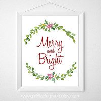 Merry and Bright - Mistletoe Watercolor Painting - 8 x 10 - Instant Download - Christmas Printable