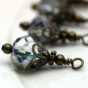 Vintage Style Mystic Peacock Mirror Multifaceted Crystal Rondelle and Brass Bead Dangle Drop Set