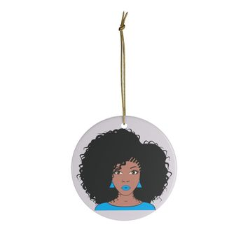 Blue Afro Girl Ceramic Christmas Ornaments