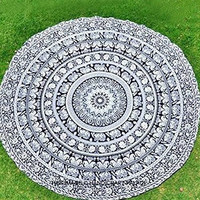 Elephant Mandala Round Roundie Beach Throw Indian Tapestry Hippie Yoga Mat Decor
