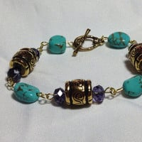 Water goddess turquoise and crystal link bracelet - turquoise jewelry - christmas gifts for women - gifts for her - stocking stuffer