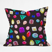 Natalie Baca Rhinestone Reverie In Black Throw Pillow