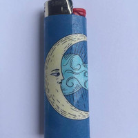 Moon and cloud custom BIC lighter