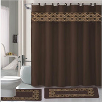 Gabrielle Chocolate 15 Piece Shower Curtain  Hooks  Bath Rug  Contour Rug Set